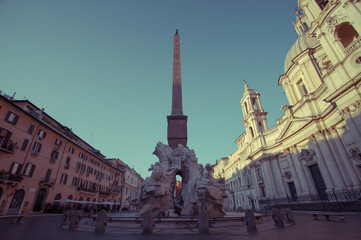 Italy, Rome, Piazza Navona fountain at sunrise