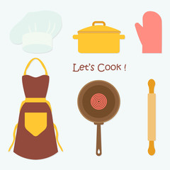Kitchen Tools Cooking Set, Flat Vector Illustration