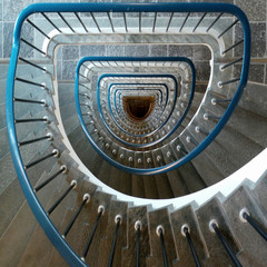 Overhead view of spiral staircase