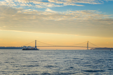 New York Harbor with Verrazano Bridge in Background at Dawn