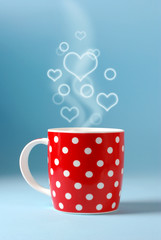 red cup over beautiful bokeh background