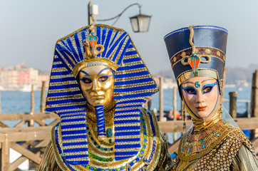 Couple in Costumes at the Carnival of Venice