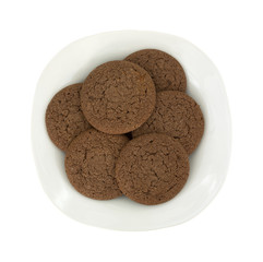Six Dutch Cocoa Soft Cookies Stacked On Plate
