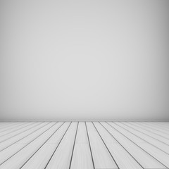 Empty white room background wooden planks floor.