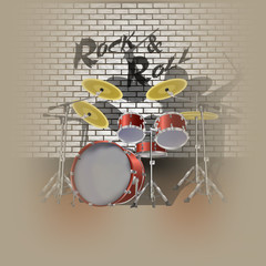 drum kit drummer and shadow