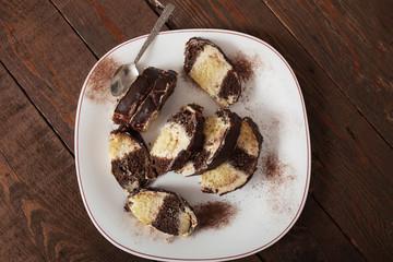 Homemade chocolate and vanilla cake