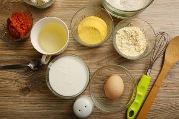 Ingredients for making salty muffins