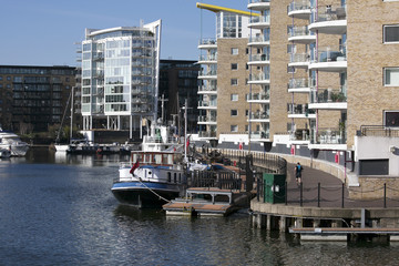 Limehouse basin in centre of London,