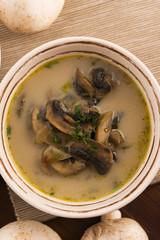 mushroom soup on a table