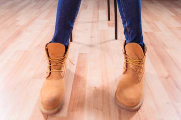 Legs in winter boots