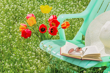 Relax in the garden on a spring day