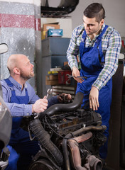 Professional mechanics repairing car