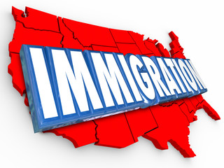 Immigration 3d Word USA United States Map Reforming Legal Reside