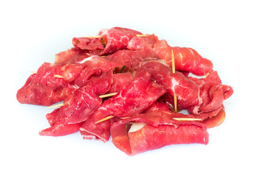 raw uncooked beef roulades