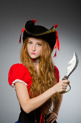 Woman pirate with sharp knife