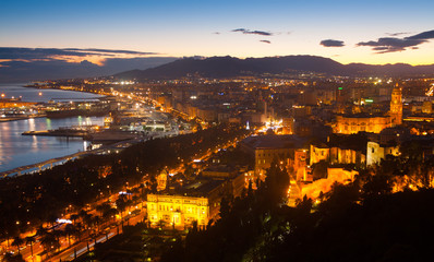 Old  districts in Malaga with Cathedral in dawn