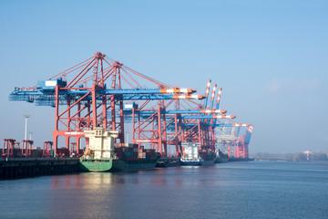 cargo port of Hamburg on the river Elbe, Germany