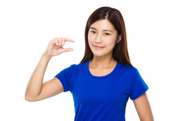 Woman with finger gap