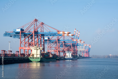 cargo port of Hamburg on the river Elbe, Germany - 78466272