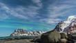 Lofoten Islands beach timelapse with Aurora Borealis