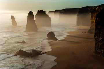 Foggy landscape of Twelve Apostles , Great Ocean road, Australia