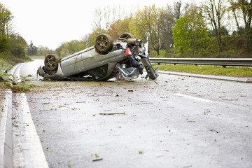 Crashed car on motorway