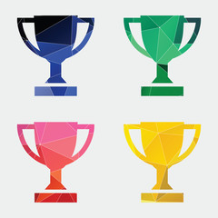 winner cup icon Abstract Triangle background.