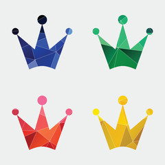 crown icon Abstract Triangle background.