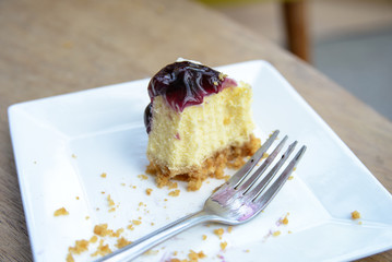 Delicious slice Cheesecake with blueberries