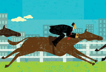 Businessman horseracing