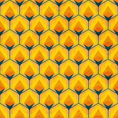 honey mosaic seamless pattern