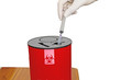 Постер, плакат: Doctor put syringe in red disposal boxes on white background