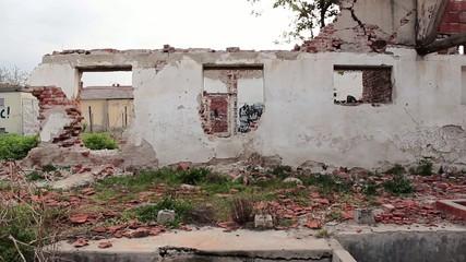 Destroyed settlement after destruction,apocalypse symbol