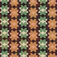 retro geometric flowers seamless pattern