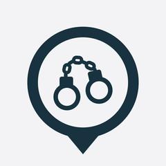 handcuffs icon map pin