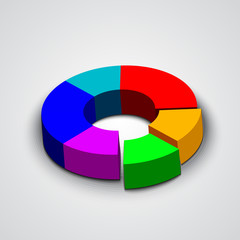 Vector abstract round 3d business pie chart
