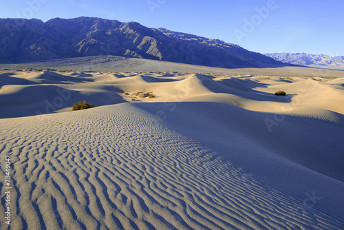 Desert landscape with sand dunes and mountains, Death Valley