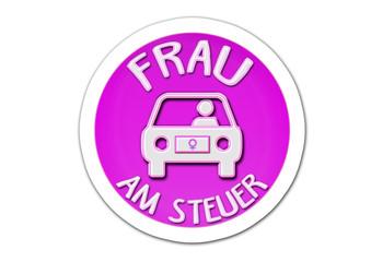 Frau am Steuer - Autoaufkleber