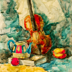 Violin on table, watercolor drawing