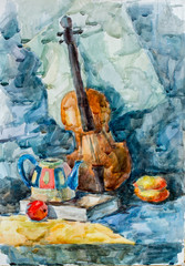 Violin, watercolor drawing