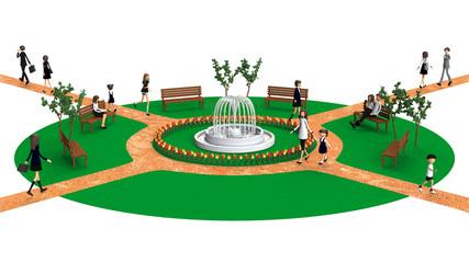 公園の3D-CG