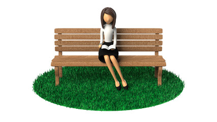 ベンチに座って読書する女性の3D-CG