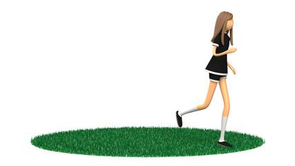 ジョギングする女性の3D-CG