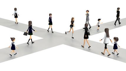 交差点を往来する人々の3D-CG