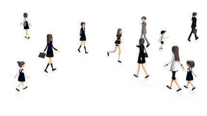 歩く人々の3D-CG