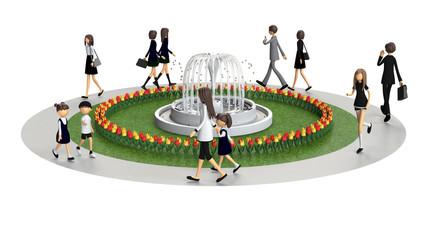 公園を歩く人々の3D-CG