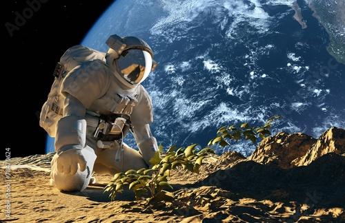 Astronaut on his knees