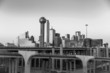 Dallas City skyline at twilight in black and white