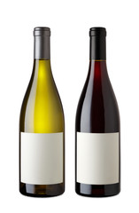 Bottle of Red Wine and White Wine with clipping path