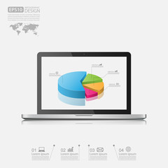 Laptop with business graph.vector